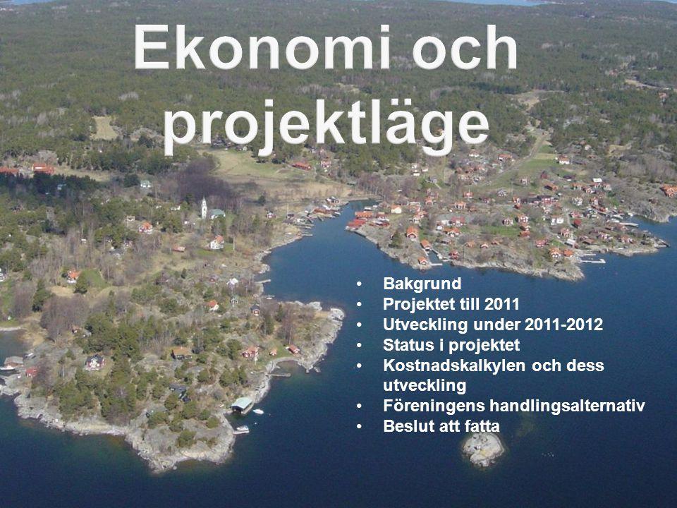 •Bakgrund •Projektet till 2011 •Utveckling under 2011-2012 •Status i projektet •Kostnadskalkylen och dess utveckling •Föreningens handlingsalternativ