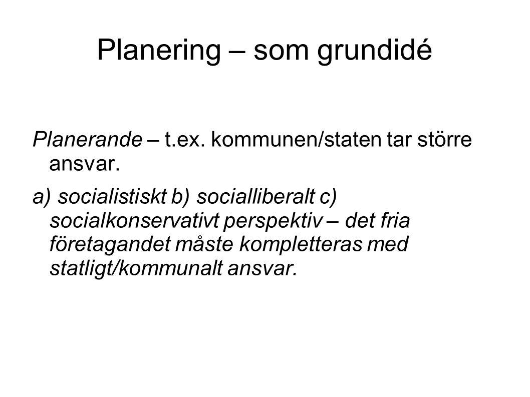 Planering – som grundidé Planerande – t.ex. kommunen/staten tar större ansvar. a) socialistiskt b) socialliberalt c) socialkonservativt perspektiv – d