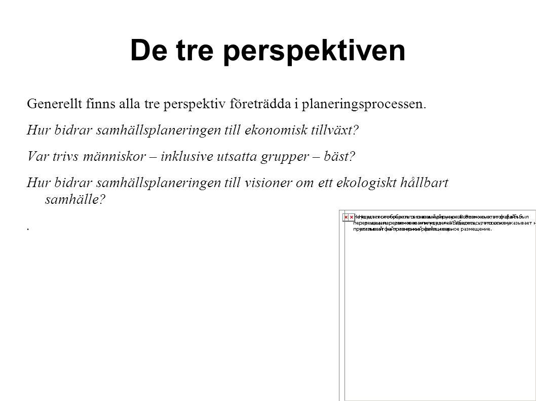 De tre perspektiven Generellt finns alla tre perspektiv företrädda i planeringsprocessen. Hur bidrar samhällsplaneringen till ekonomisk tillväxt? Var