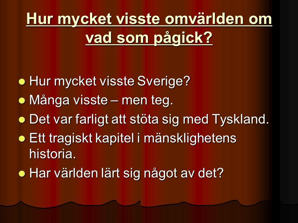 Hur mycket visste omvärlden om vad som pågick. Hur mycket visste Sverige.