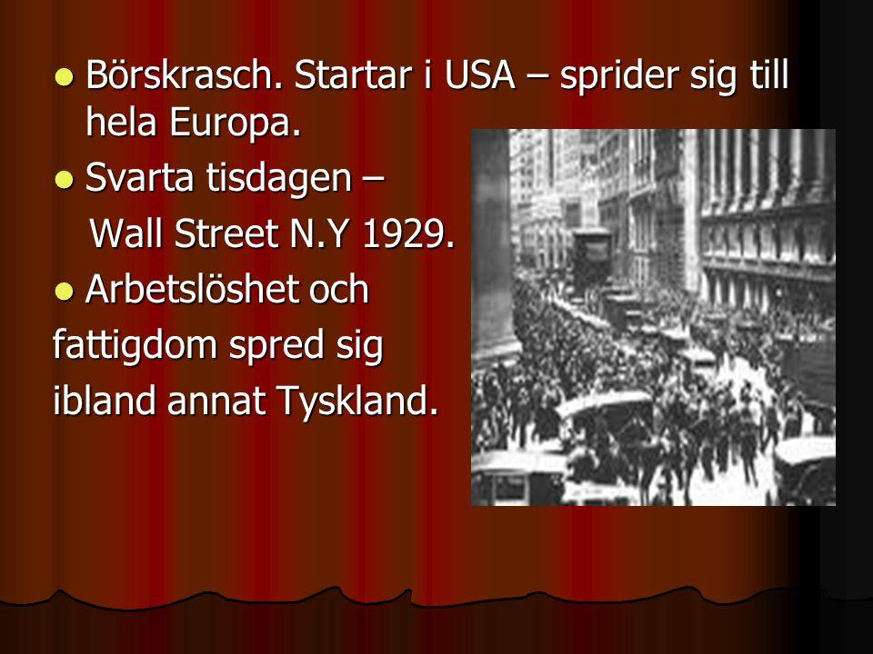  Börskrasch.Startar i USA – sprider sig till hela Europa.