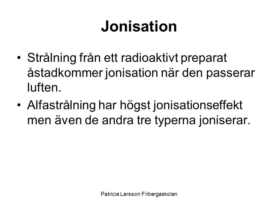 Jonisation •Strålning från ett radioaktivt preparat åstadkommer jonisation när den passerar luften. •Alfastrålning har högst jonisationseffekt men äve