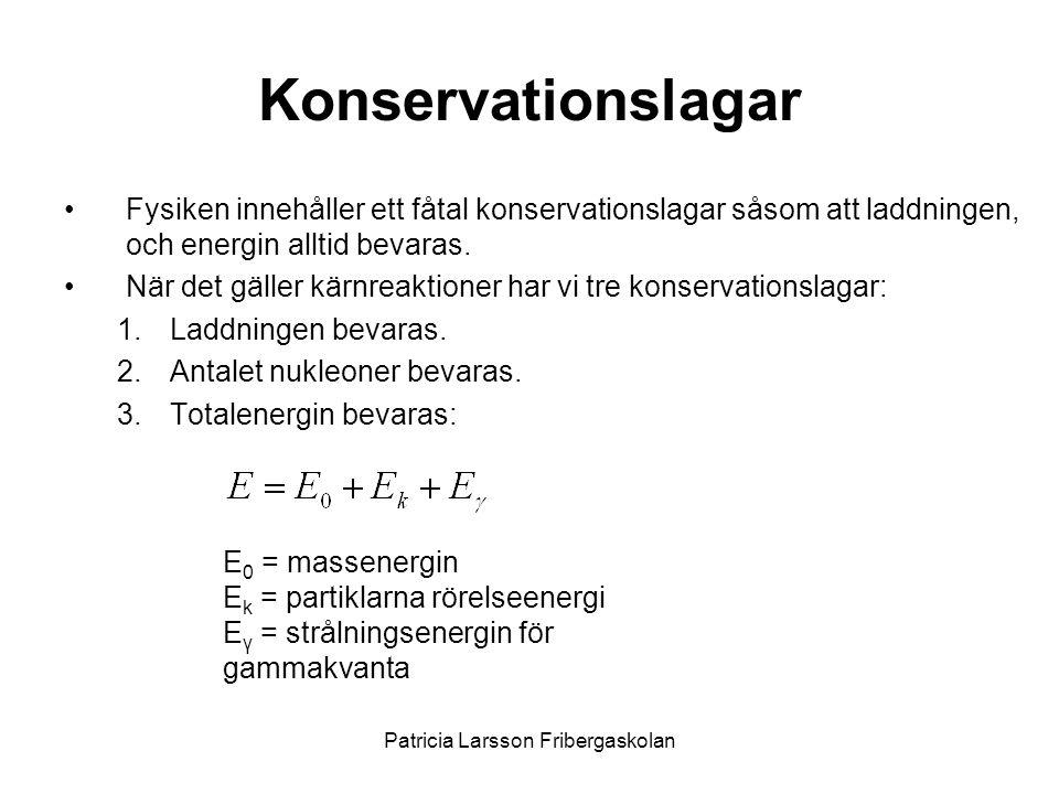 Konservationslagar •Fysiken innehåller ett fåtal konservationslagar såsom att laddningen, och energin alltid bevaras. •När det gäller kärnreaktioner h
