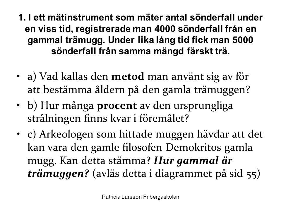 •a) Vad kallas den metod man använt sig av för att bestämma åldern på den gamla trämuggen? •b) Hur många procent av den ursprungliga strålningen finns