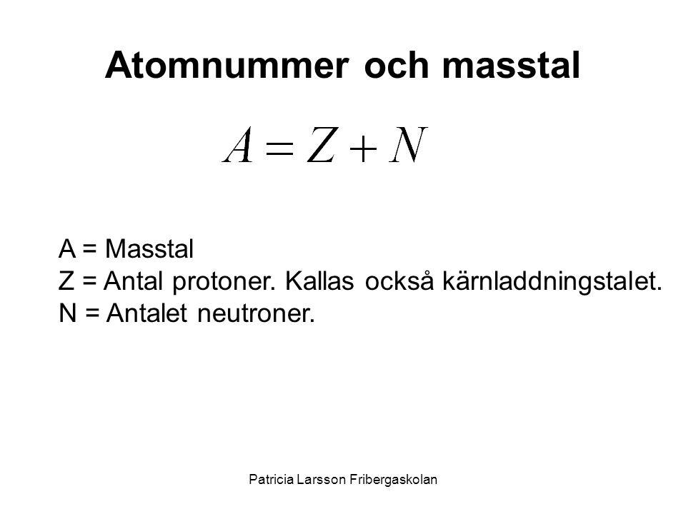 Atomnummer och masstal A = Masstal Z = Antal protoner. Kallas också kärnladdningstalet. N = Antalet neutroner. Patricia Larsson Fribergaskolan