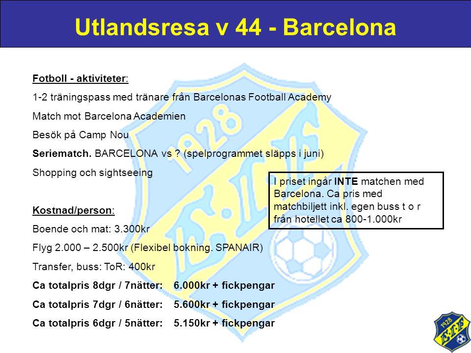 Fotboll - aktiviteter: 1-2 träningspass med tränare från Barcelonas Football Academy Match mot Barcelona Academien Besök på Camp Nou Seriematch. BARCE