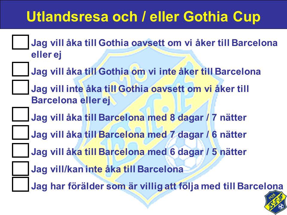 Utlandsresa och / eller Gothia Cup Jag vill åka till Gothia oavsett om vi åker till Barcelona eller ej Jag vill åka till Gothia om vi inte åker till B