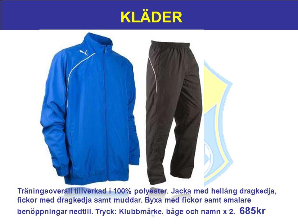 KLÄDER Träningsoverall tillverkad i 100% polyester. Jacka med hellång dragkedja, fickor med dragkedja samt muddar. Byxa med fickor samt smalare benöpp