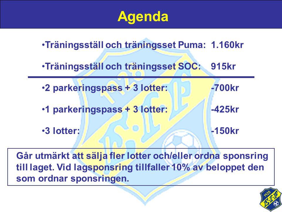 Agenda •Träningsställ och träningsset Puma:1.160kr •Träningsställ och träningsset SOC:915kr •2 parkeringspass + 3 lotter:-700kr •1 parkeringspass + 3