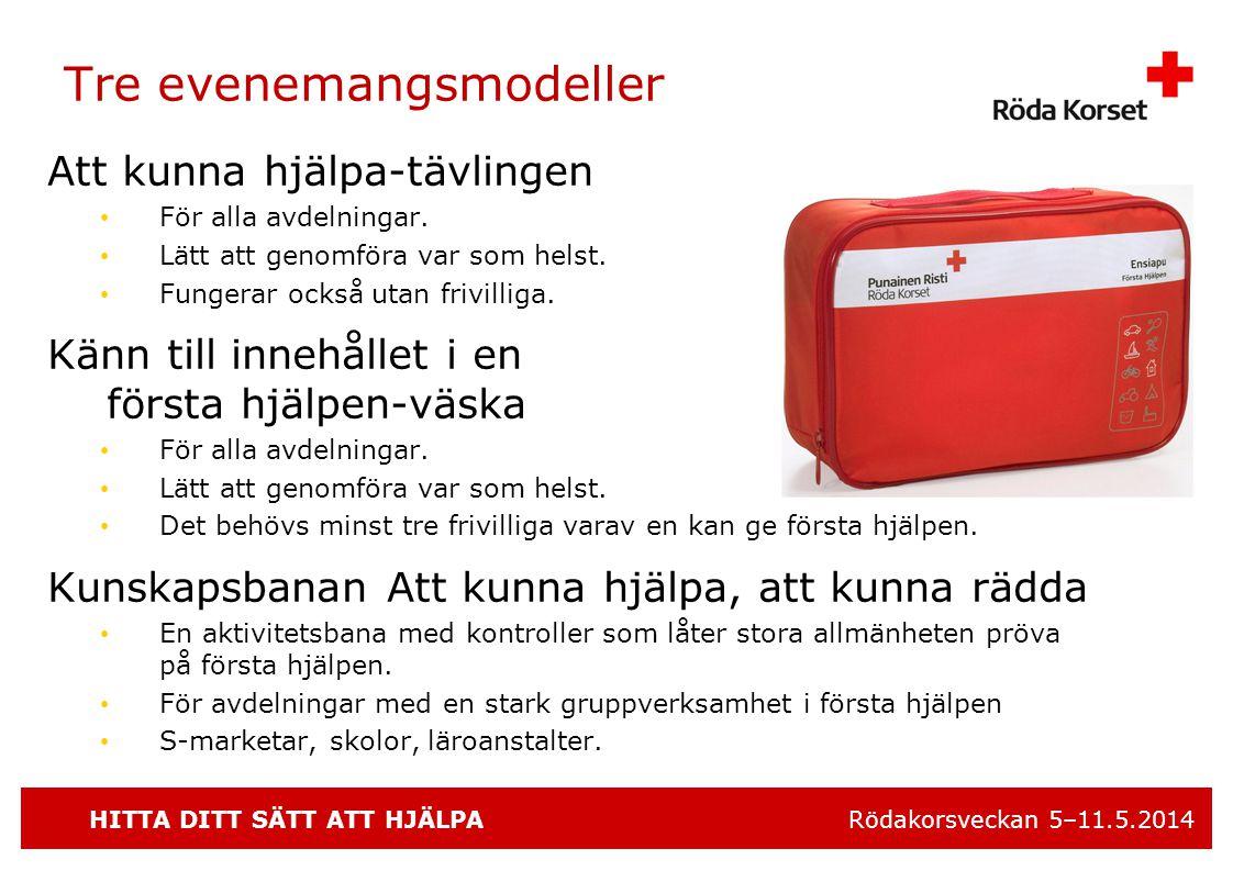 HITTA DITT SÄTT ATT HJÄLPA Rödakorsveckan 5–11.5.2014 Tre evenemangsmodeller Att kunna hjälpa-tävlingen • För alla avdelningar.