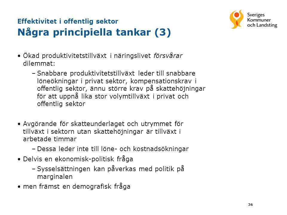 36 Effektivitet i offentlig sektor Några principiella tankar (3) •Ökad produktivitetstillväxt i näringslivet försvårar dilemmat: –Snabbare produktivit