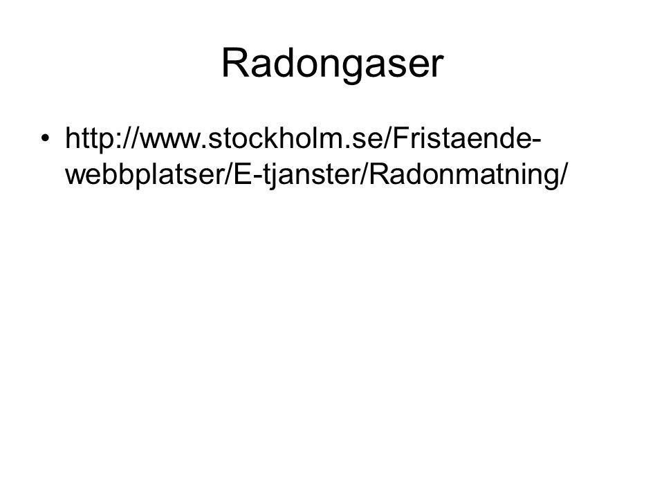 Radongaser •http://www.stockholm.se/Fristaende- webbplatser/E-tjanster/Radonmatning/
