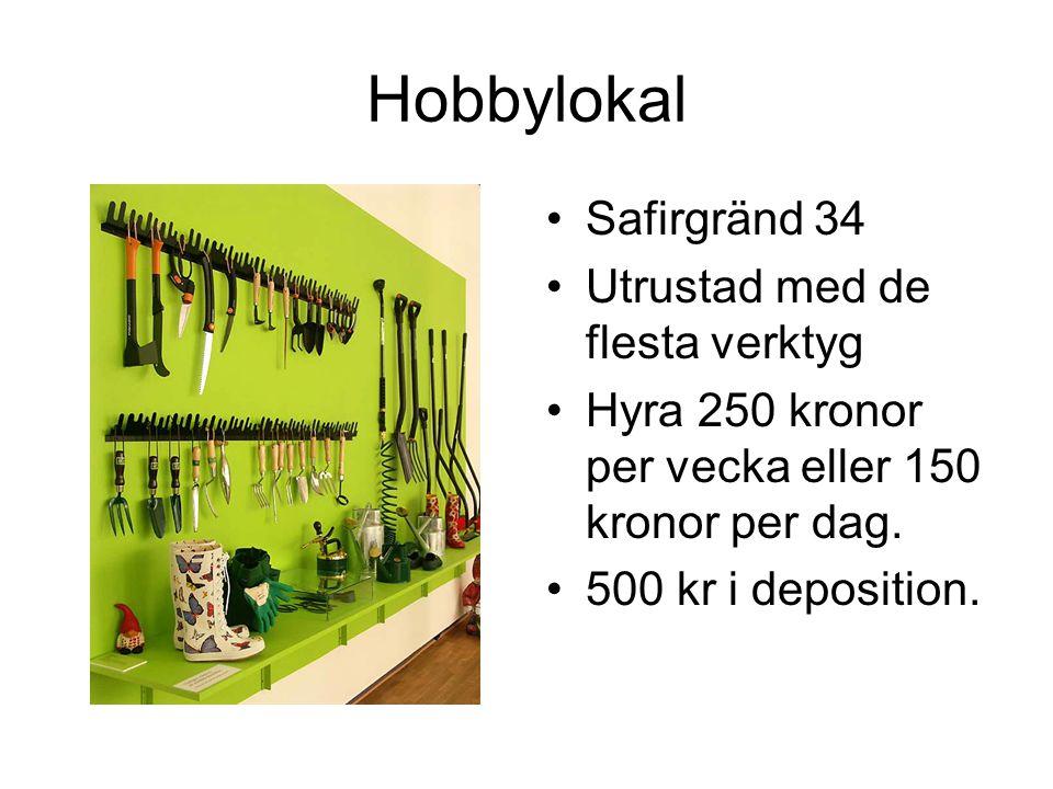 Hobbylokal •Safirgränd 34 •Utrustad med de flesta verktyg •Hyra 250 kronor per vecka eller 150 kronor per dag.