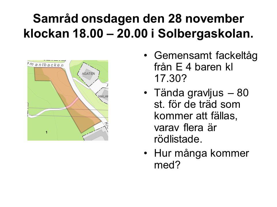Samråd onsdagen den 28 november klockan 18.00 – 20.00 i Solbergaskolan.