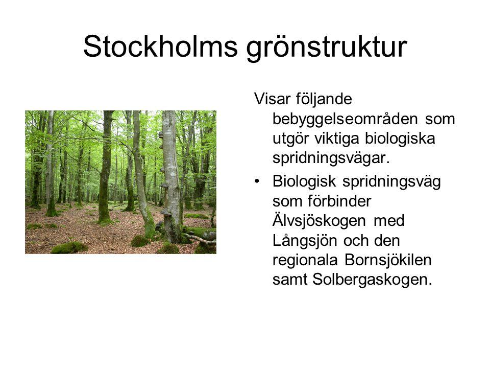 Stockholms grönstruktur Visar följande bebyggelseområden som utgör viktiga biologiska spridningsvägar.