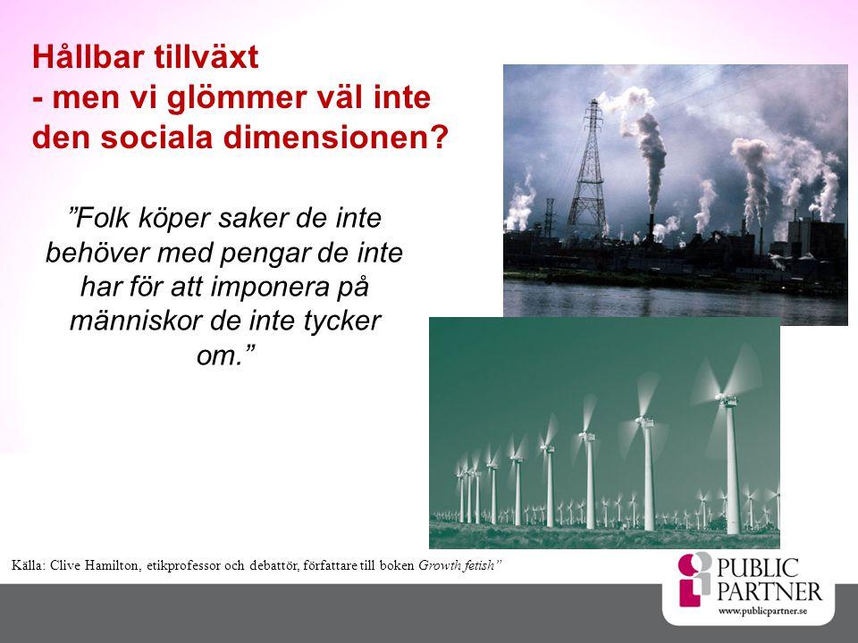 Hållbar tillväxt - men vi glömmer väl inte den sociala dimensionen.