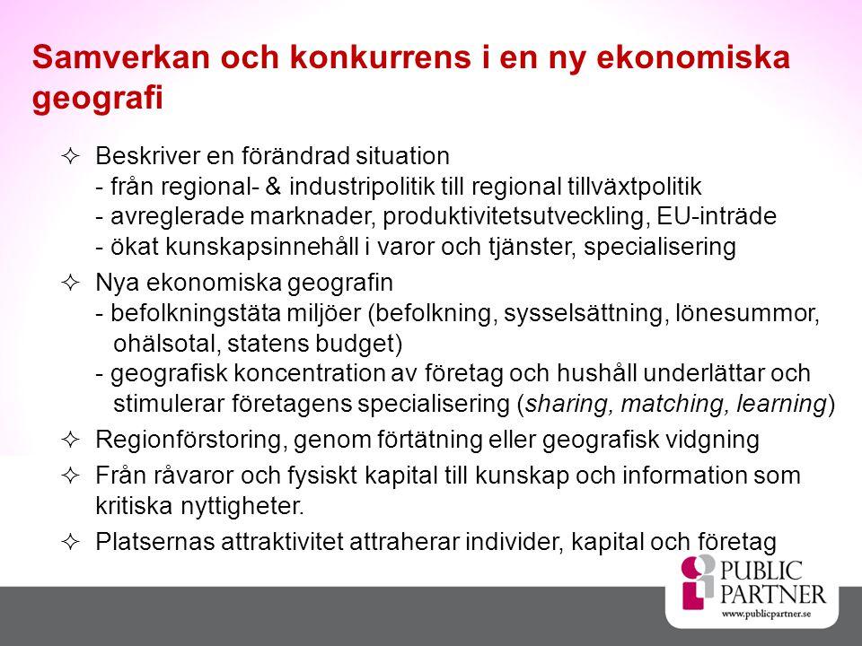 Beskriver en förändrad situation - från regional- & industripolitik till regional tillväxtpolitik - avreglerade marknader, produktivitetsutveckling, EU-inträde - ökat kunskapsinnehåll i varor och tjänster, specialisering  Nya ekonomiska geografin - befolkningstäta miljöer (befolkning, sysselsättning, lönesummor, ohälsotal, statens budget) - geografisk koncentration av företag och hushåll underlättar och stimulerar företagens specialisering (sharing, matching, learning)  Regionförstoring, genom förtätning eller geografisk vidgning  Från råvaror och fysiskt kapital till kunskap och information som kritiska nyttigheter.