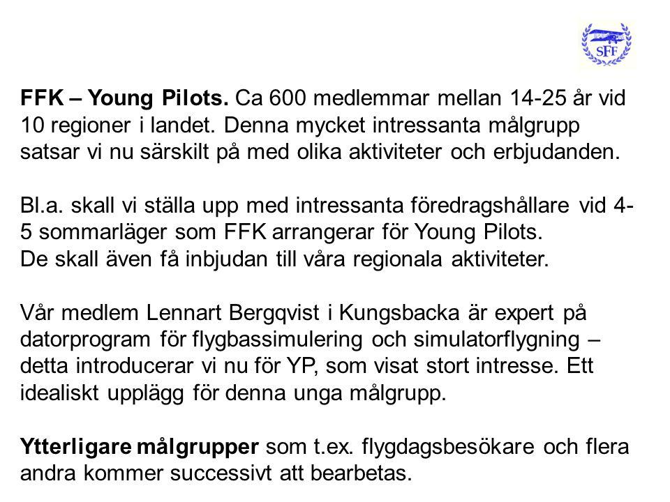 FFK – Young Pilots. Ca 600 medlemmar mellan 14-25 år vid 10 regioner i landet.