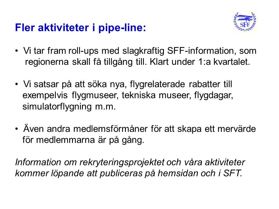 Fler aktiviteter i pipe-line: • Vi tar fram roll-ups med slagkraftig SFF-information, som regionerna skall få tillgång till.