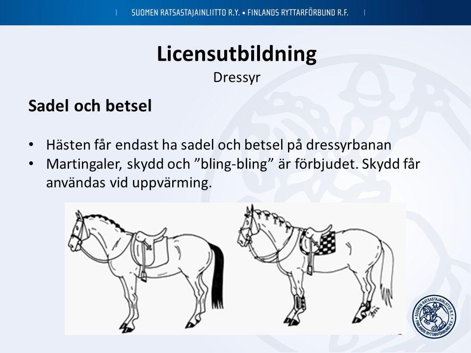 """Licensutbildning Dressyr Sadel och betsel • Hästen får endast ha sadel och betsel på dressyrbanan • Martingaler, skydd och """"bling-bling"""" är förbjudet."""