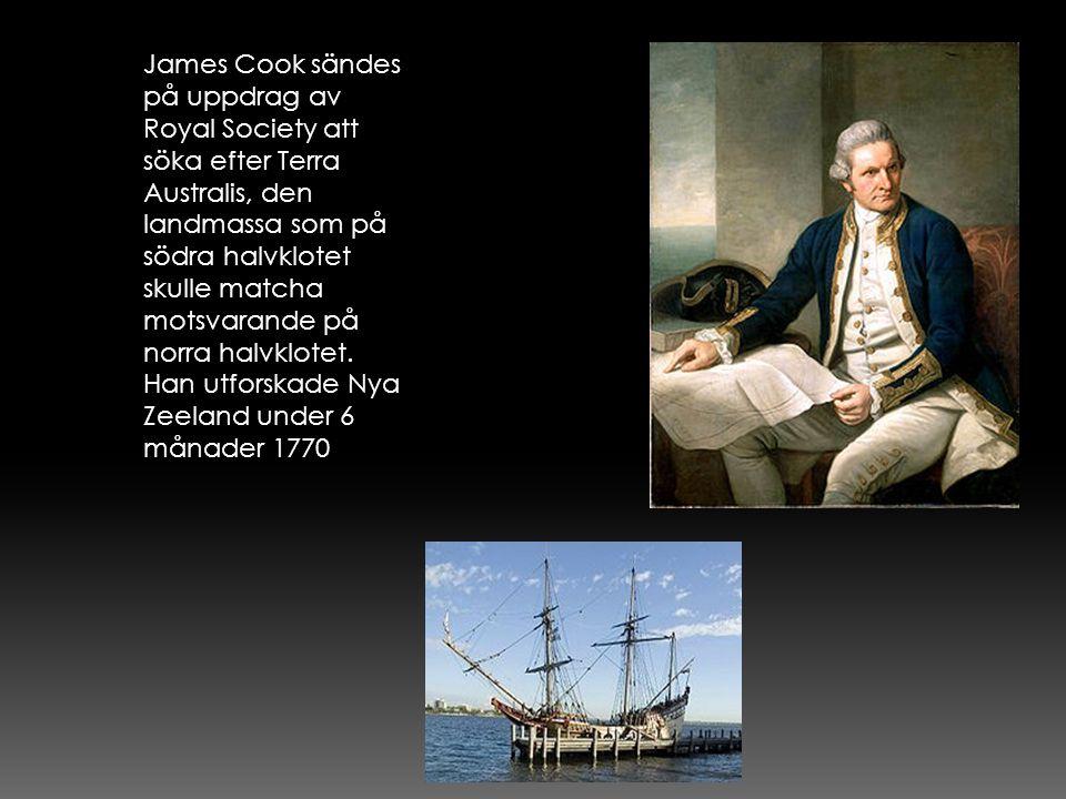 James Cook sändes på uppdrag av Royal Society att söka efter Terra Australis, den landmassa som på södra halvklotet skulle matcha motsvarande på norra