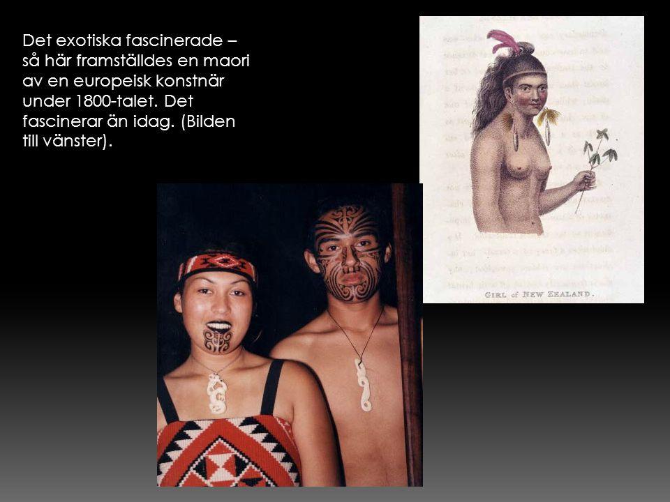 Det exotiska fascinerade – så här framställdes en maori av en europeisk konstnär under 1800-talet. Det fascinerar än idag. (Bilden till vänster).