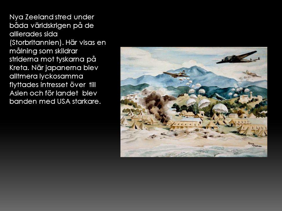 Nya Zeeland stred under båda världskrigen på de allierades sida (Storbritannien). Här visas en målning som skildrar striderna mot tyskarna på Kreta. N