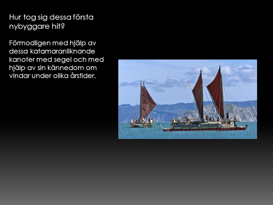 Hur tog sig dessa första nybyggare hit? Förmodligen med hjälp av dessa katamaranliknande kanoter med segel och med hjälp av sin kännedom om vindar und