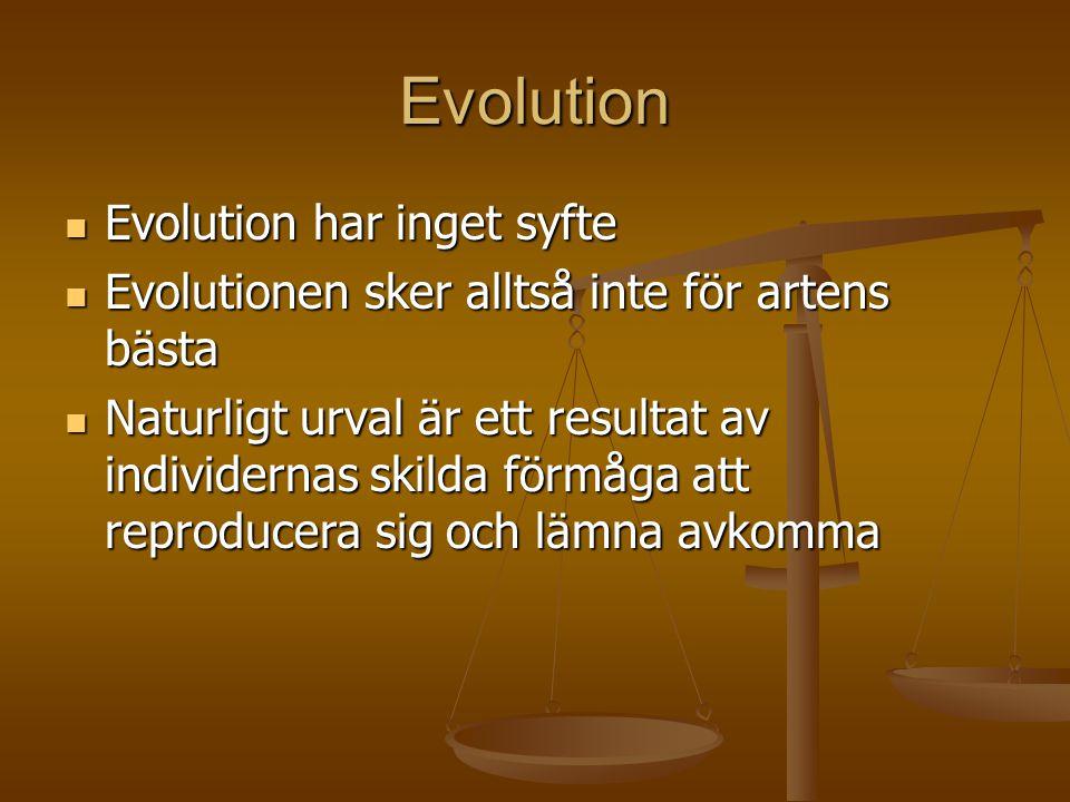 Evolution  Evolution har inget syfte  Evolutionen sker alltså inte för artens bästa  Naturligt urval är ett resultat av individernas skilda förmåga
