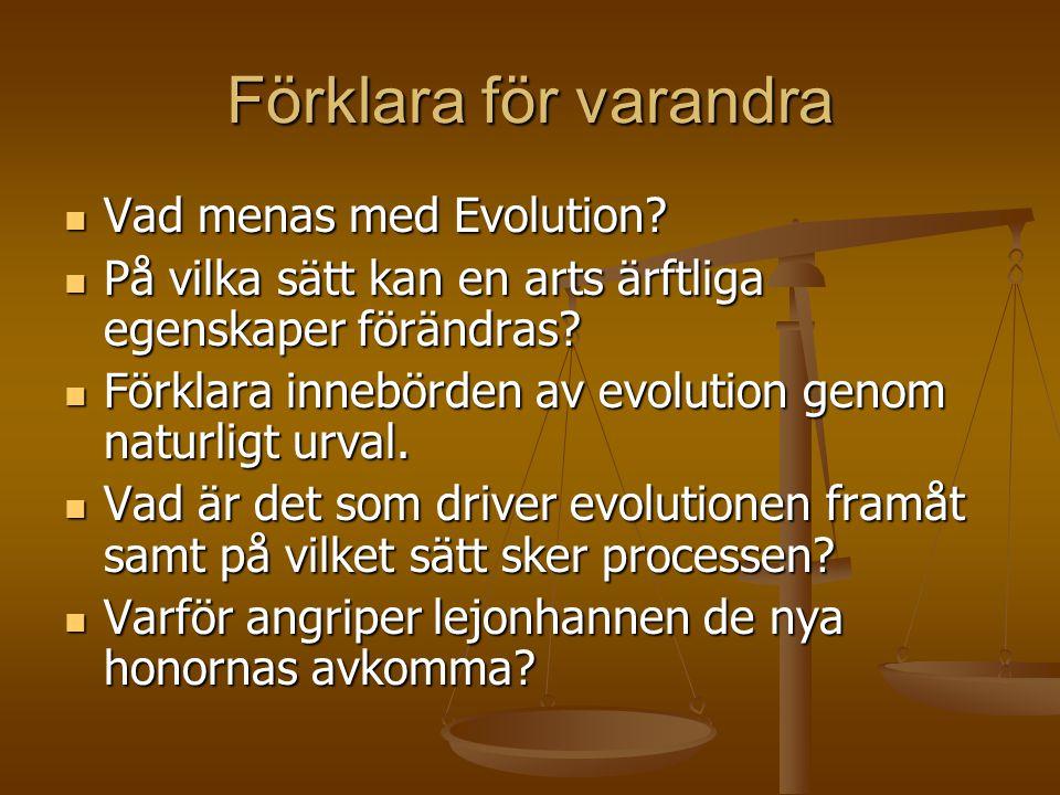 Förklara för varandra  Vad menas med Evolution?  På vilka sätt kan en arts ärftliga egenskaper förändras?  Förklara innebörden av evolution genom n