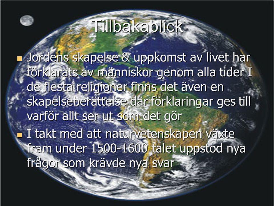 Tillbakablick  Jordens skapelse & uppkomst av livet har förklarats av människor genom alla tider I de flesta religioner finns det även en skapelseber