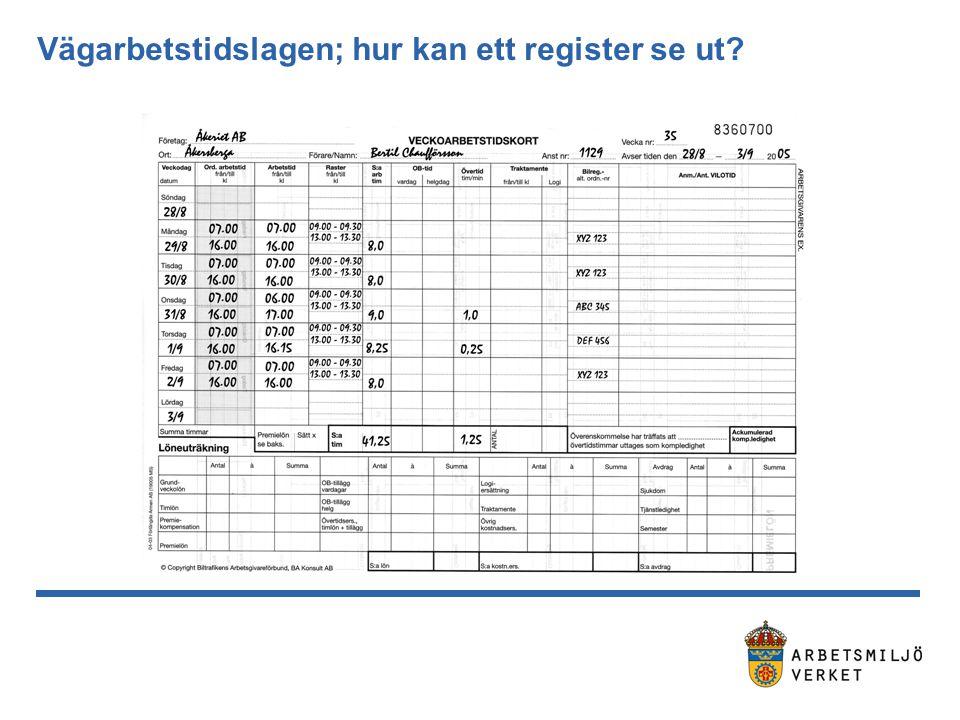 Vägarbetstidslagen; hur kan ett register se ut?