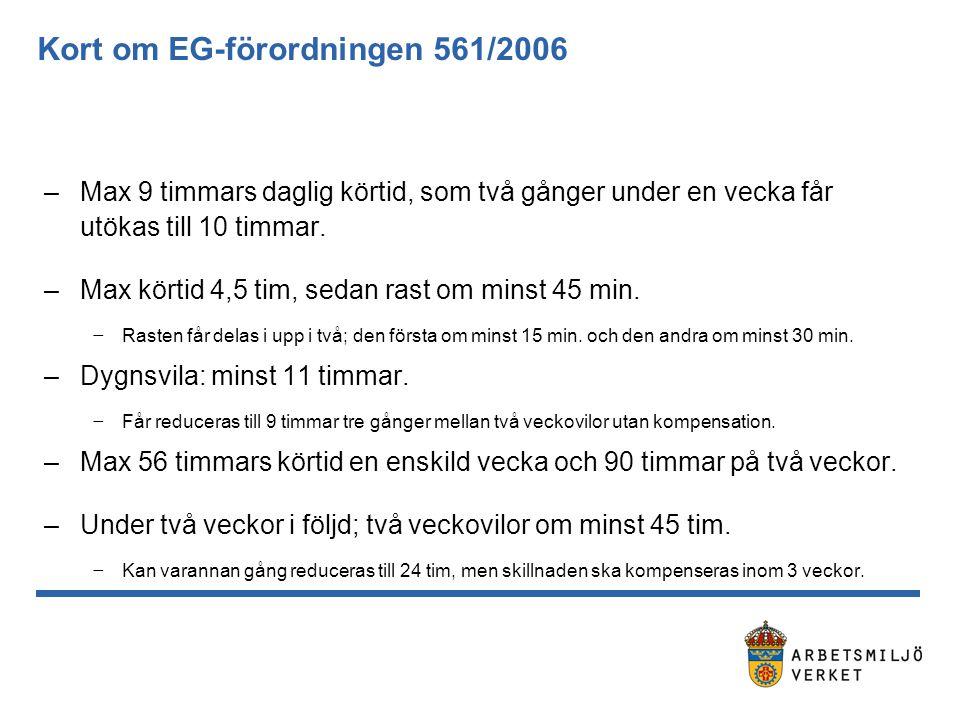 Det finns fordon som inte omfattas av 561/2006… Totalt 15 undantag inkl.