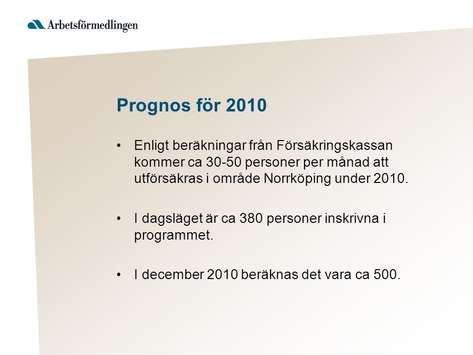 Prognos för 2010 •Enligt beräkningar från Försäkringskassan kommer ca 30-50 personer per månad att utförsäkras i område Norrköping under 2010. •I dags