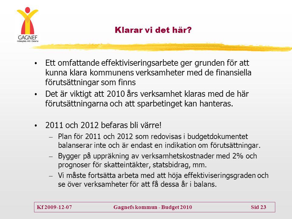 Kf 2009-12-07 Gagnefs kommun - Budget 2010 Sid 23 Klarar vi det här? • Ett omfattande effektiviseringsarbete ger grunden för att kunna klara kommunens