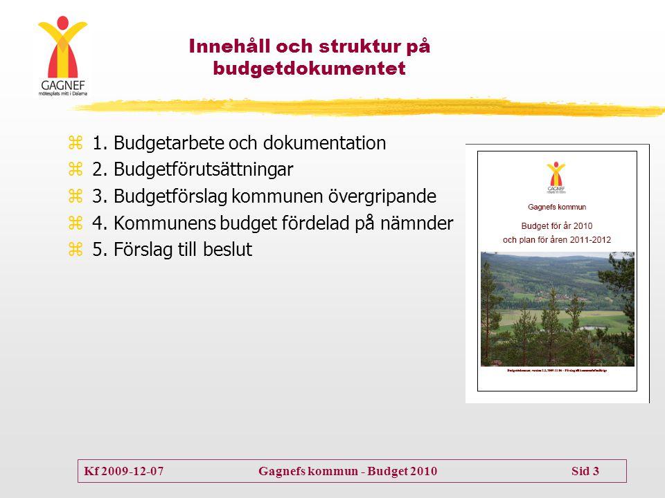 Kf 2009-12-07 Gagnefs kommun - Budget 2010 Sid 3 Innehåll och struktur på budgetdokumentet  1. Budgetarbete och dokumentation  2. Budgetförutsättnin