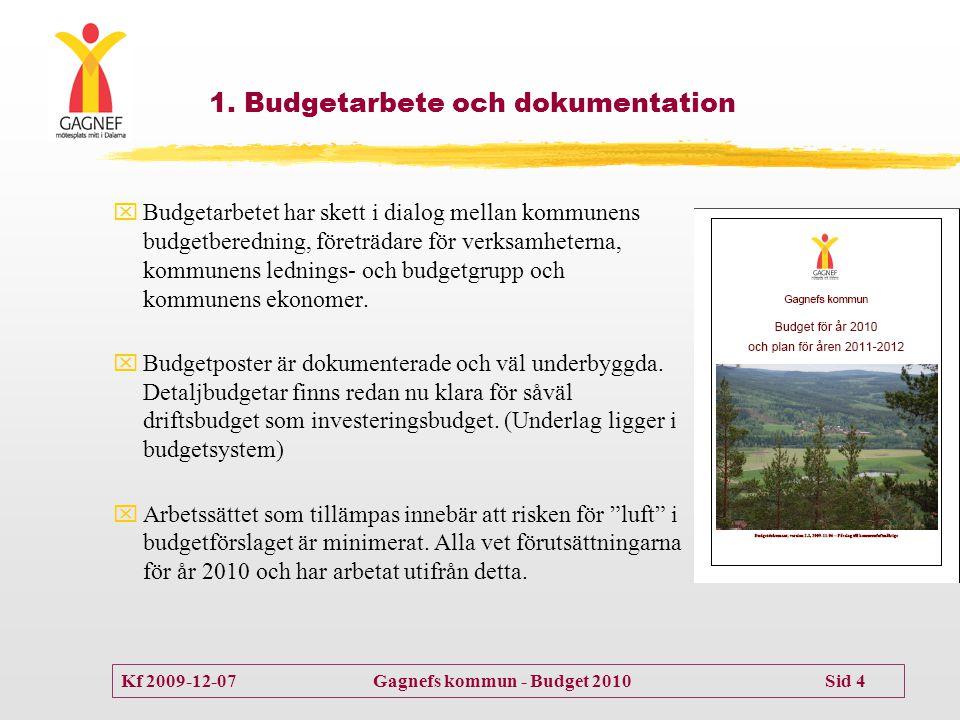 Kf 2009-12-07 Gagnefs kommun - Budget 2010 Sid 4  Budgetarbetet har skett i dialog mellan kommunens budgetberedning, företrädare för verksamheterna,