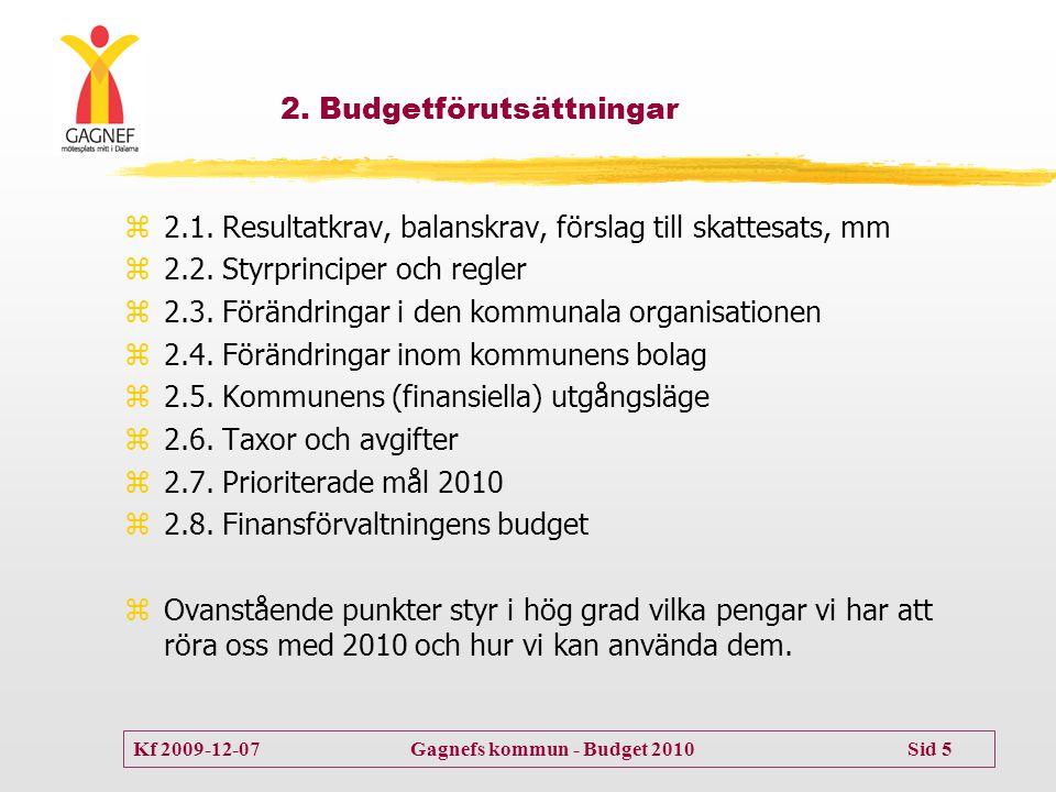 Kf 2009-12-07 Gagnefs kommun - Budget 2010 Sid 5 2. Budgetförutsättningar  2.1. Resultatkrav, balanskrav, förslag till skattesats, mm  2.2. Styrprin