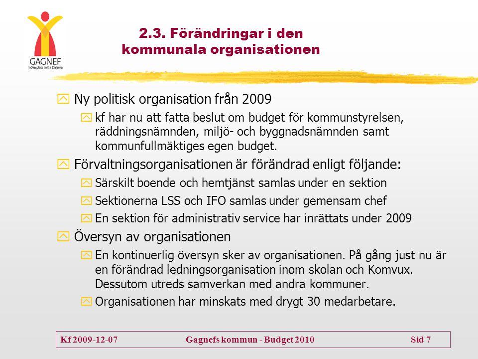 Kf 2009-12-07 Gagnefs kommun - Budget 2010 Sid 7 2.3. Förändringar i den kommunala organisationen  Ny politisk organisation från 2009  kf har nu att
