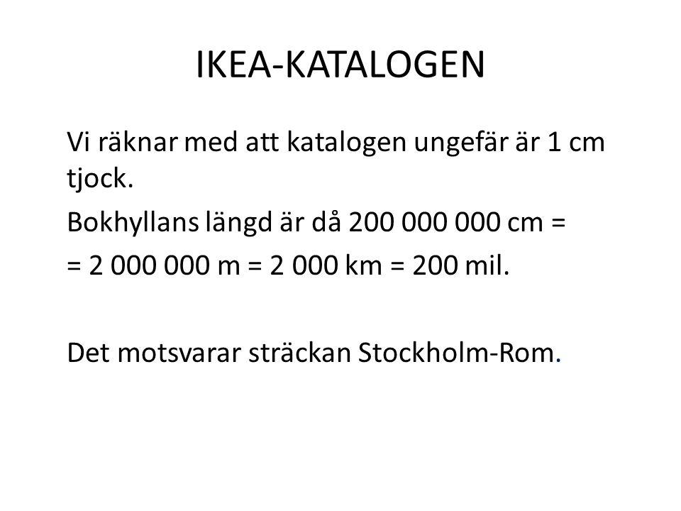 IKEA-KATALOGEN Vi räknar med att katalogen ungefär är 1 cm tjock. Bokhyllans längd är då 200 000 000 cm = = 2 000 000 m = 2 000 km = 200 mil. Det mots