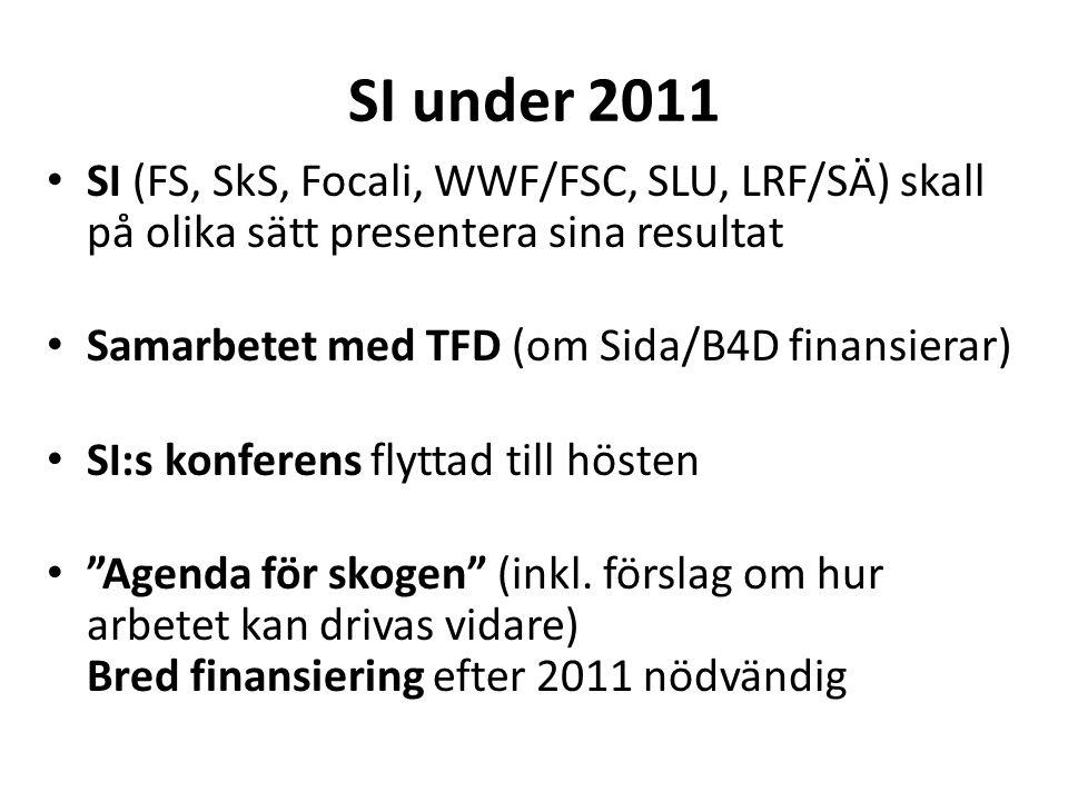 SI under 2011 • SI (FS, SkS, Focali, WWF/FSC, SLU, LRF/SÄ) skall på olika sätt presentera sina resultat • Samarbetet med TFD (om Sida/B4D finansierar) • SI:s konferens flyttad till hösten • Agenda för skogen (inkl.