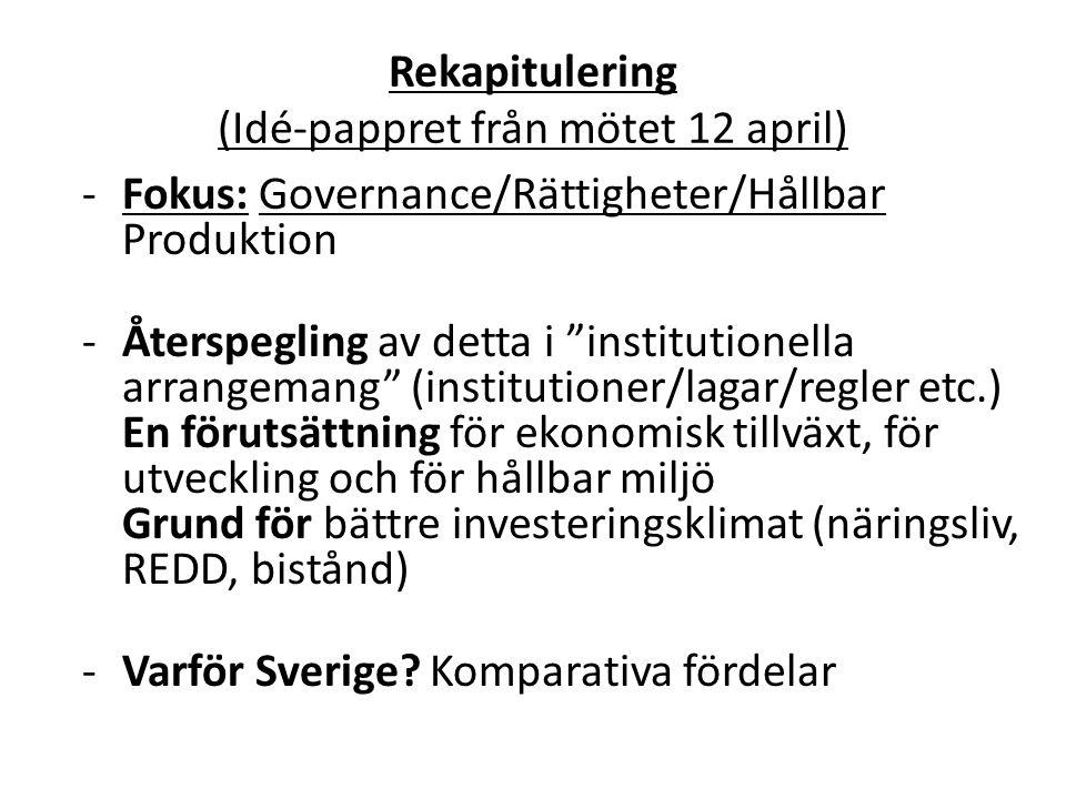 Rekapitulering (Idé-pappret från mötet 12 april) -Fokus: Governance/Rättigheter/Hållbar Produktion -Återspegling av detta i institutionella arrangemang (institutioner/lagar/regler etc.) En förutsättning för ekonomisk tillväxt, för utveckling och för hållbar miljö Grund för bättre investeringsklimat (näringsliv, REDD, bistånd) - Varför Sverige.