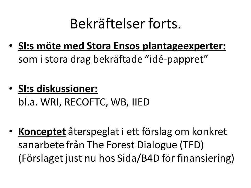 "Bekräftelser forts. • SI:s möte med Stora Ensos plantageexperter: som i stora drag bekräftade ""idé-pappret"" • SI:s diskussioner: bl.a. WRI, RECOFTC, W"