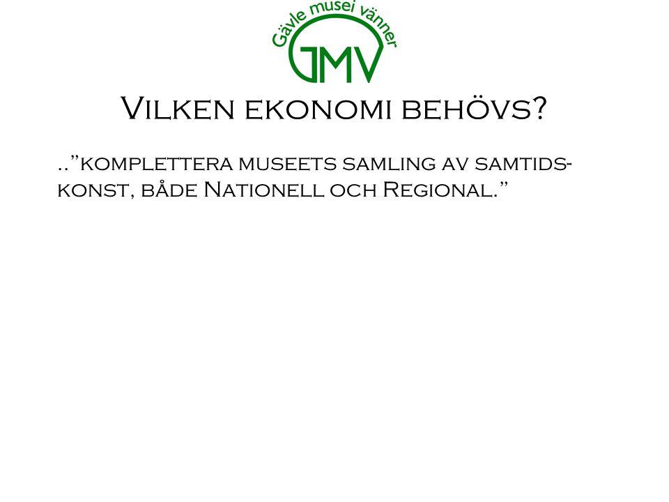 Vilken ekonomi behövs .. komplettera museets samling av samtids- konst, både Nationell och Regional.
