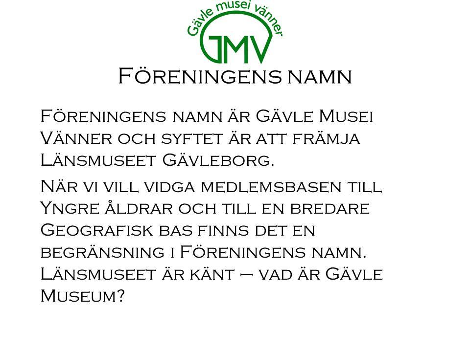 Föreningens namn Föreningens namn är Gävle Musei Vänner och syftet är att främja Länsmuseet Gävleborg.