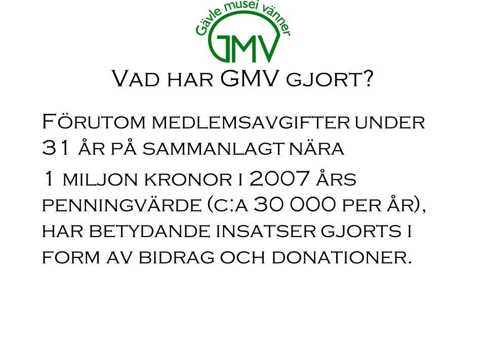 Vad har GMV gjort.