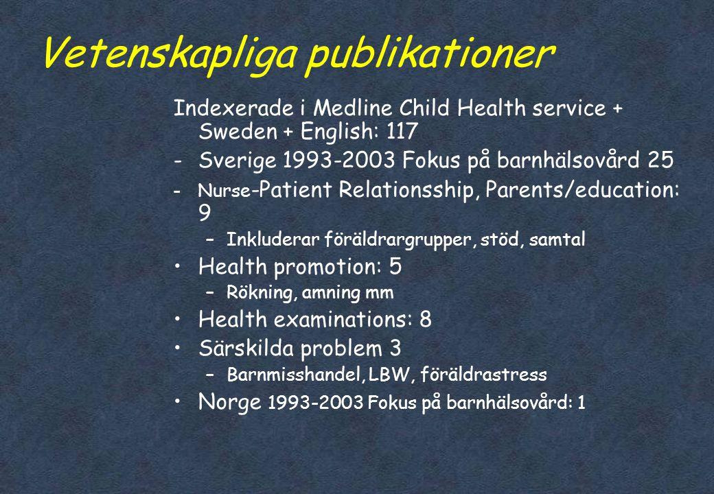 Barnhälsovård - omvårdnadsvetenskap •Sen utveckling som akademiskt ämne under 1990- talet •Flera perspektiv •Tydlig koppling forskning- praktik