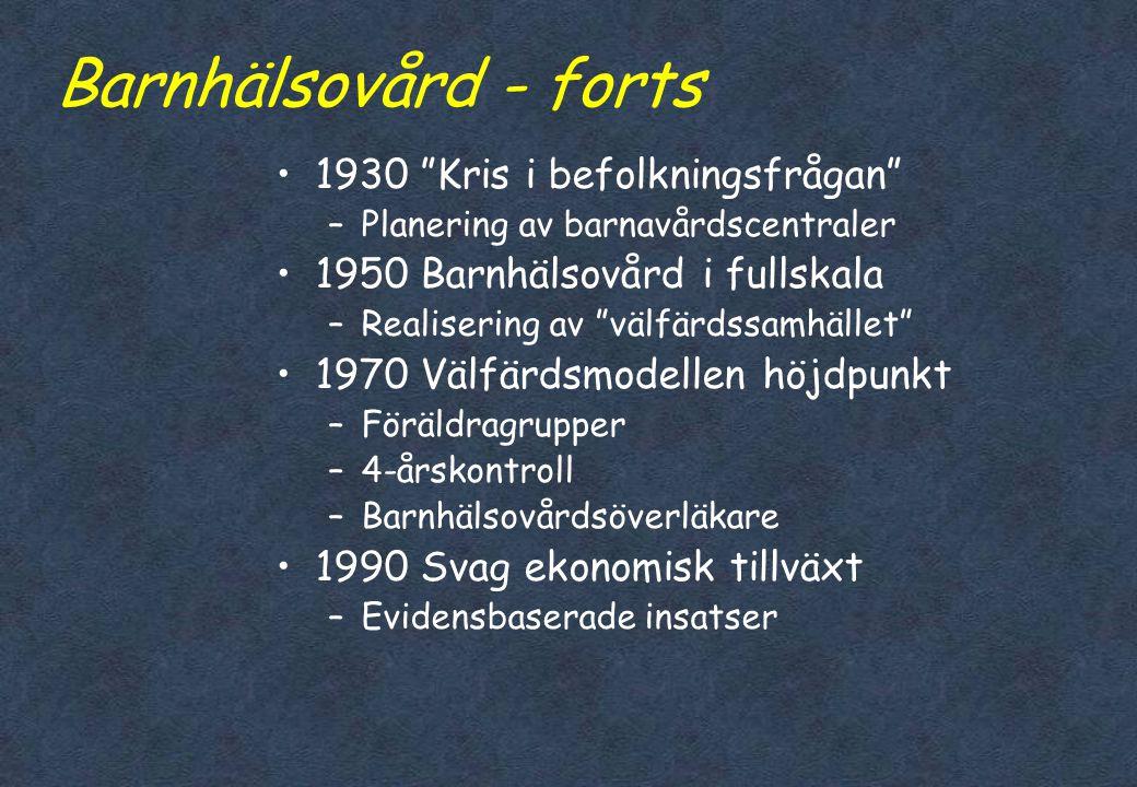 """Barnhälsovård - historia i Sverige •1870 Tuberkulossköterskan –Länken mellan staten och medborgaren •1900 """"Mjölkdroppen"""" –Distribution av bröstmjölkse"""