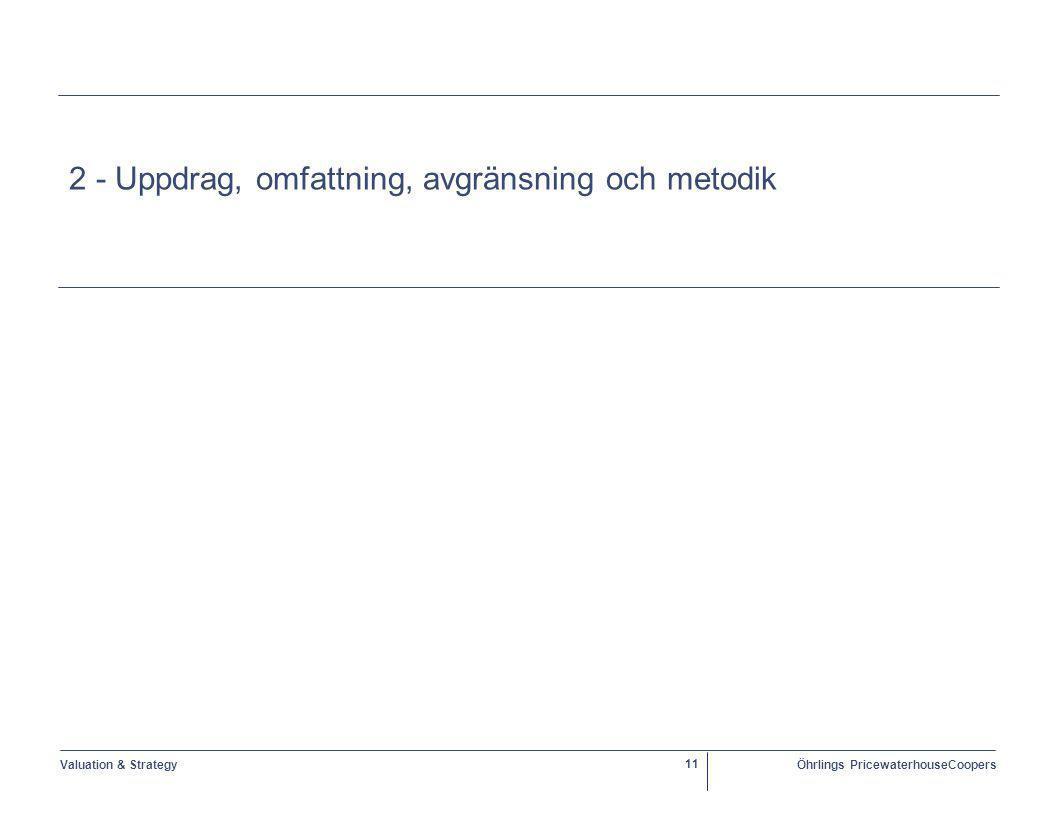 Valuation & StrategyÖhrlings PricewaterhouseCoopers 11 2 - Uppdrag, omfattning, avgränsning och metodik
