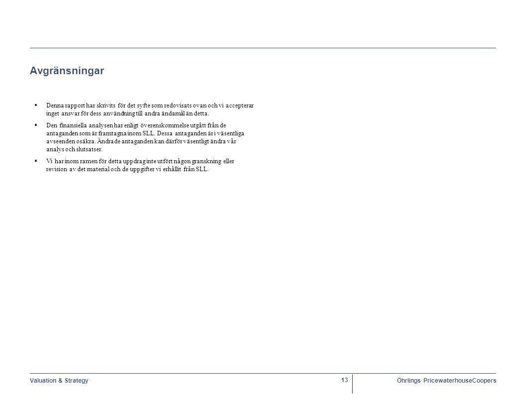 Valuation & StrategyÖhrlings PricewaterhouseCoopers 13 Avgränsningar  Denna rapport har skrivits för det syfte som redovisats ovan och vi accepterar inget ansvar för dess användning till andra ändamål än detta.